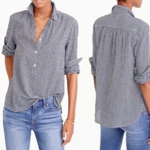 J. Crew Gathered Popover Microgingham Shirt Top 6